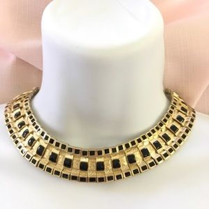 Goldtone Black Mesh Necklace
